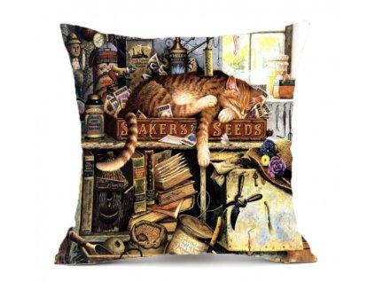 polštář kočka kočičí s kočkou spící koťátko povlak