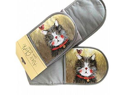 chňapka dvojitá kuchyňská rukavice kočka s kočkou kočičí alex clark 5