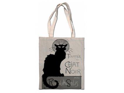 nákupní taška balvněná látková kočka s kočkou kocou Le Chat noir