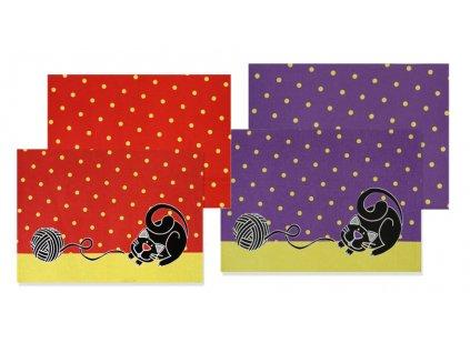 Velké prostírání s kočkou - červená, fialová
