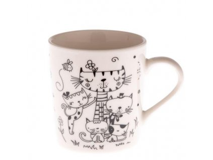 hrnek šálek kočka s kočkou porcelánový menší