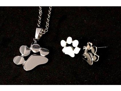 set náušnice náhrdelník ocelový kočka s kočkou kočičí tlapka 2