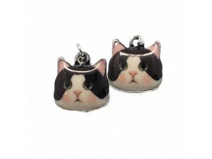 Smaltové náušnice s černobílou kočkou