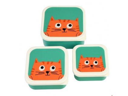 sada 3 krabiček na jídlo kočka s kočkou kočičí kocou chester