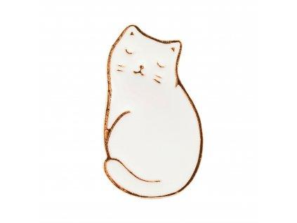 brož špendlík s bílou kočkou kočka kočičí