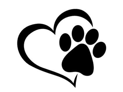 Samolepka na auto srdce s kočičí tlapkou