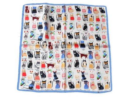 šátek kočka s kočkou kočičí hedvábný modrý