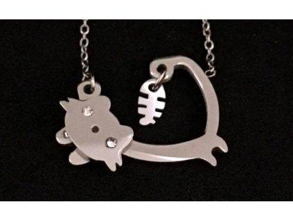 náhrdelník kočka s kočkou kočičí rybí kost chirurgická ocel