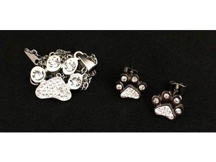 souprava náhrdelník náušnice ocel tlapka s tlapkou kočka kočičí