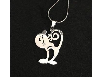 náhrdelník přívěsek kočka s kočkou kočičí chirurgická ocel 2