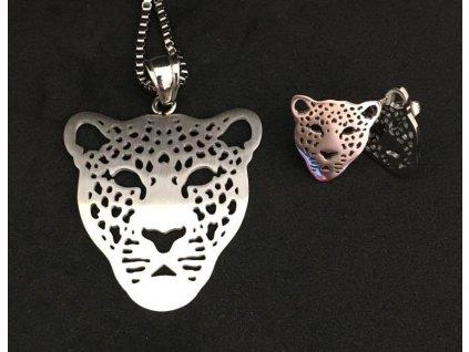 souprava náhrdelník náušnice gepard kočka s kočkou kočičí chirugická ocel