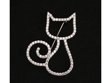 brož kočka s kčokou kočičí swarowski krystaly