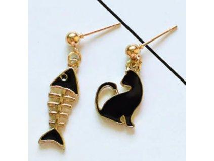 náušnice asymetrick kočka s kočkou kočičí rybí kost