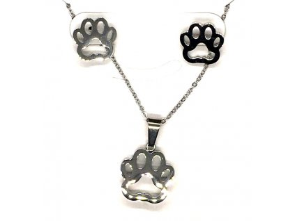 sada set náhrdelním náušnice ocel kočka s kočkou kočičí tlapka packa 4