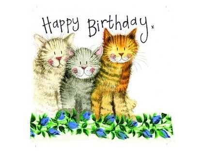narozeninové přání kočka s kočkou kočičí tři kocouři alex clark