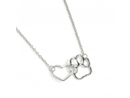 Kočičí náhrdelník tlapka a srdíčko