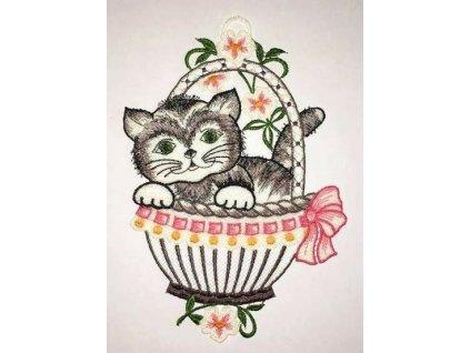 obrázek vyčšívaný kočka s kočkou kočičí kotě v košíku 3