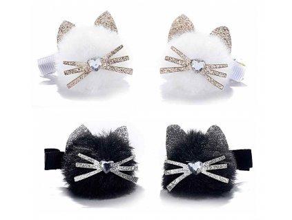 Dvě sponky s kočičkou - černá, bílá