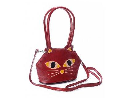 kabelka kožená kočka s kočkou kočičí červená