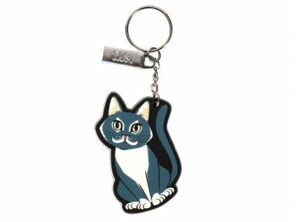 klíčenka kočka s kočkou kočičí šedá