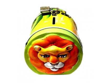 kasička plechová lev kočka s kočko kočičí se lvem 2