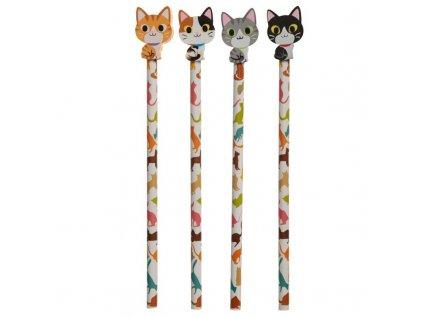 tužka s gumou kočka s kočkou kočičí
