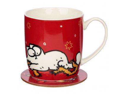 set porcelánový hrnek podtácek kočka s kočkou kočičí vánoce simons cat
