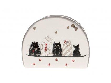 keramický stojánek na ubrousky kočka s kočkou kočičí 2