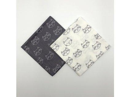 Šátek bandana s kočkami - bílý, šedý