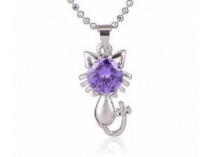 přívsek kočka s kočkou kočičí fialová