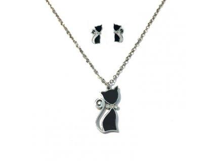 náhrdelník set kočka s kočkou kočičí chirurgická ocel černá 4