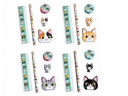 školní psací potřeby sada kočka s kočkou kočičí pravitko tužka guma
