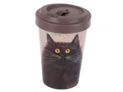 bambusový kelímek termokelímek kočka s kočkou kočičí