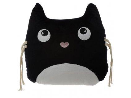 polštář koška s kočkou kočičí černý