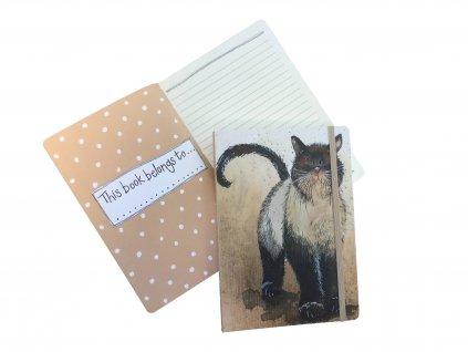 Větší zápisník na gumičku s kočkou