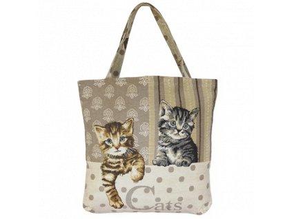taška nákupní kabelka gobelín kočka s kočkou kočičí kotě