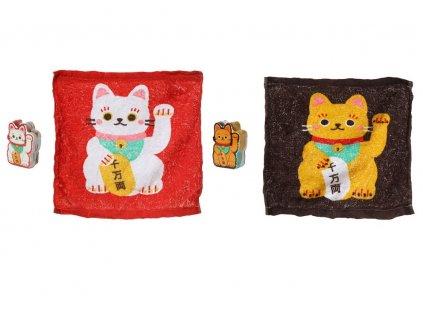 stlačený cestovní ručník kočka s kočkou kočičí maneki neko
