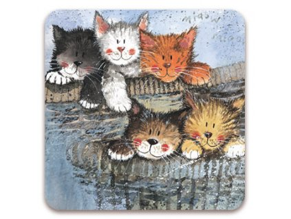 magnetka kočka s kočkou kočičí v košíku koťata koťátka alex clark
