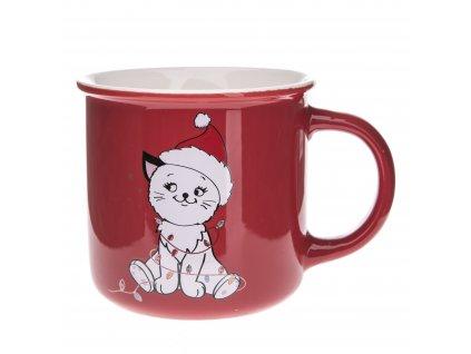 hrnek kočka s kočkou kočičí vánoční čepice