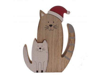dekorace kočka s kočkou kočičí s kočkami vánoční dřevěná