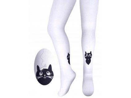 punčocháče punčochy dětské kočka s kočkou kočičí bílé 1