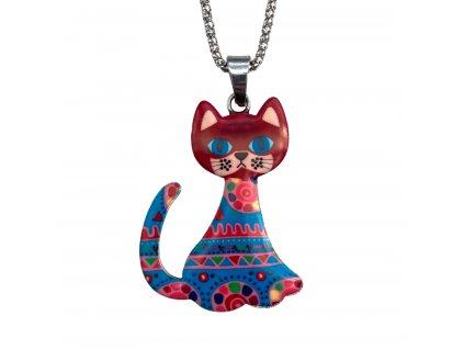 náhrdelník smalt kočka s kočkou kočičí s kočkami 3