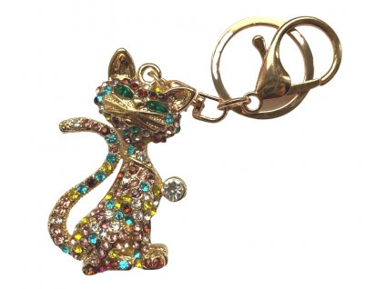 klíčenka s kočkou kočka kočičí přívěšek swarowski 3