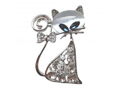 brož kočka s kočkou kočičí s kočkami swarowski s mašličkou