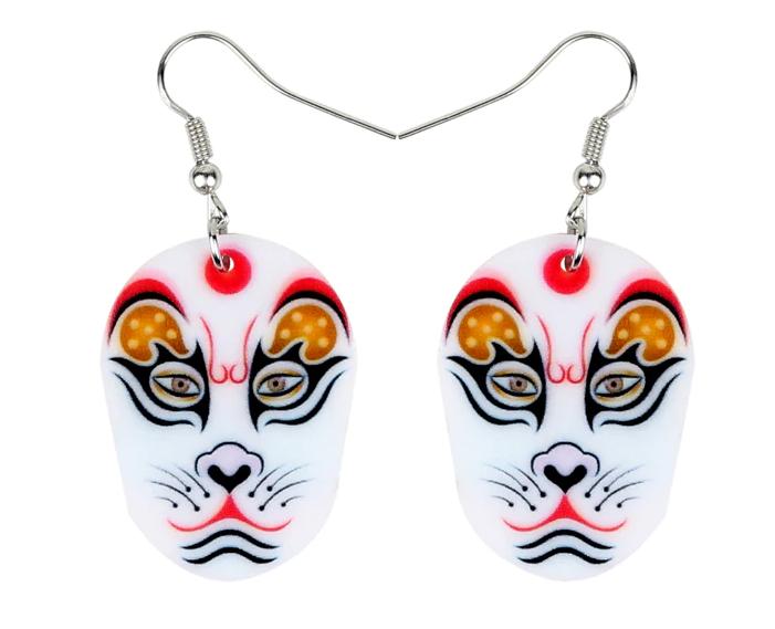 Náušnice čínská maska kočka