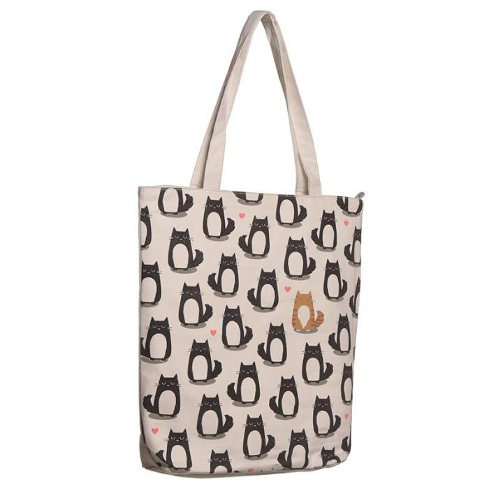 Látková kabelka černo-bílá kočka