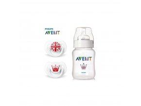 Avent sada ROYAL /fľaša 260ml PP 0% BPA + 2ks cumlík 6-18m./