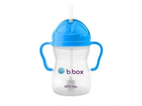 b box sippy cup flaska so slamkou svetlomodra