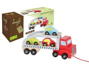 Jouéco drevený transportér s 3 autíčkami