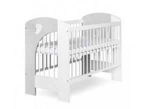 Klupš Postieľka detská NEL - Srdce 120x60 cm bielo-šedá